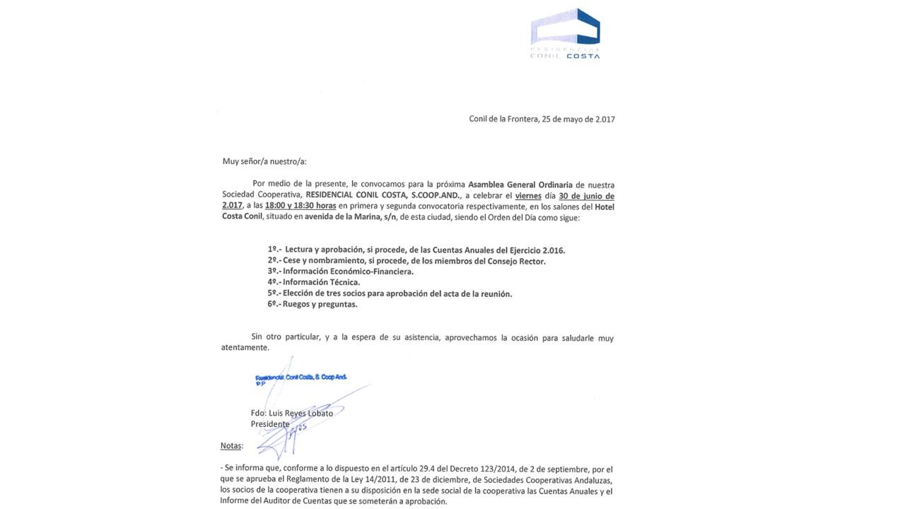 CONVOCATORIA DE ASAMBLEA GENERAL 30 JUNIO 2017
