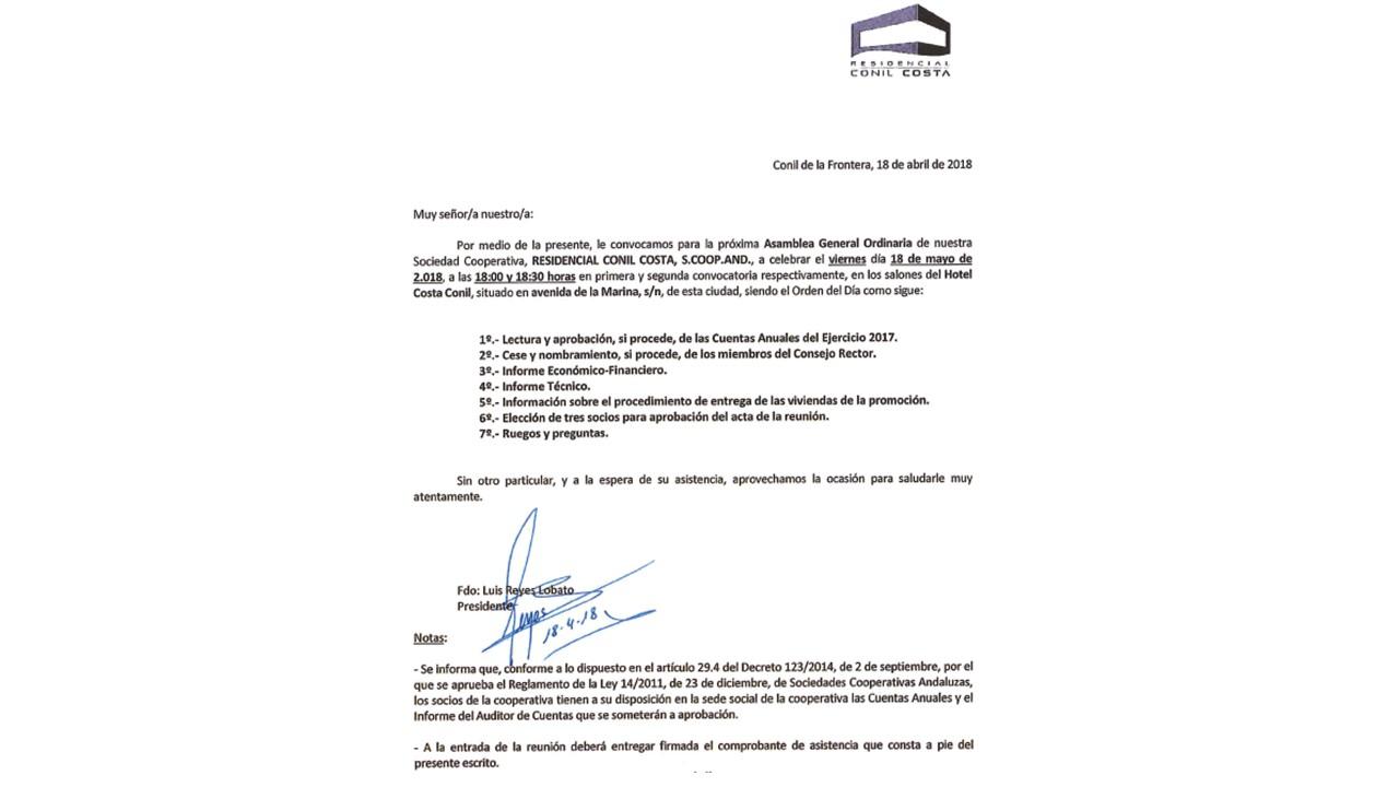 CONVOCATORIA DE ASAMBLEA GENERAL 18 MAYO 2018